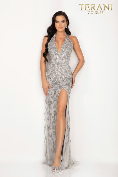 Terani - Mesh Beaded Halter Neck Gown