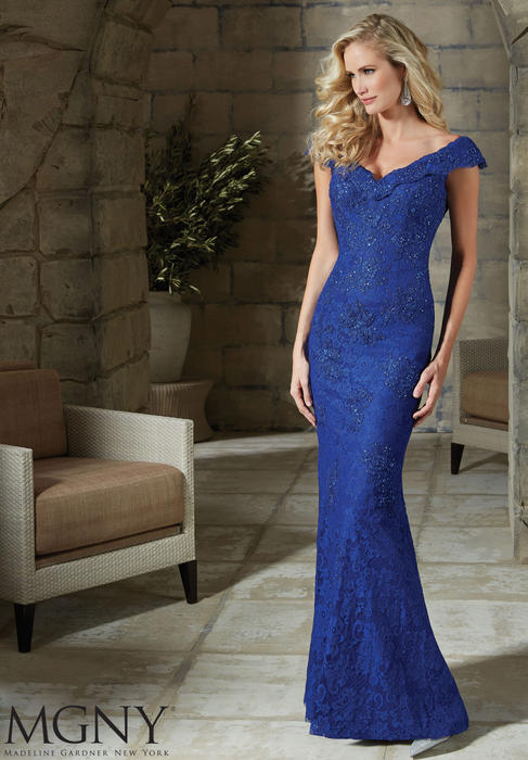 MGNY for Morilee - Embellished Stretch Lace Sheath Gown