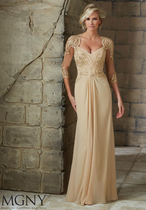 MGNY for Morilee - MOB GOWN EMB3/4SLVSOPNBCK