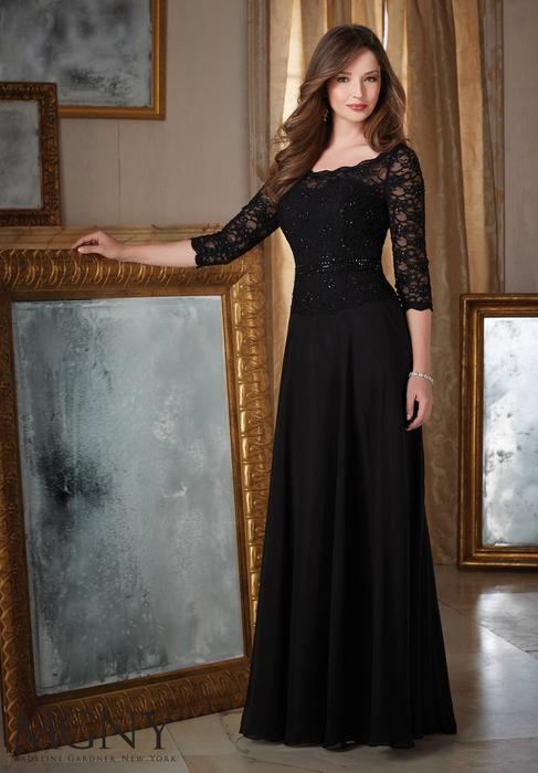 MGNY for Morilee - 3/4 Sleeve Beaded Lace Gown