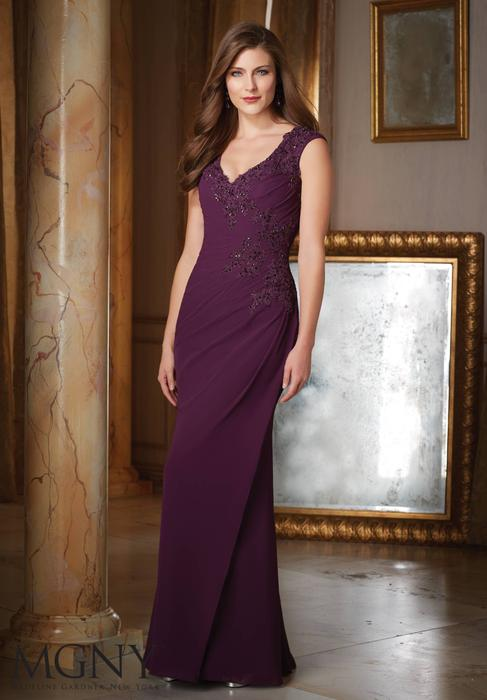 MGNY for Morilee - Embellished V-Neck Sheath Gown