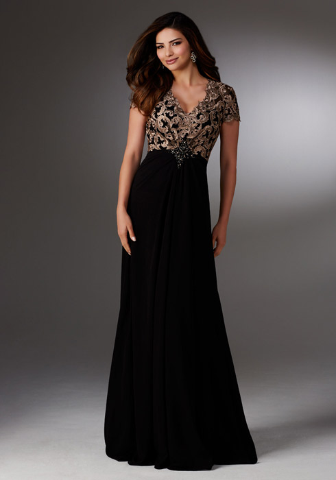 MGNY for Morilee - Mock Top V-Neck Bodice Embroidered Gown