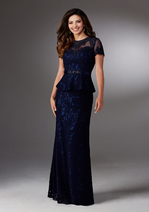 MGNY for Morilee - Short-Sleeved Beaded Lace Peplum Gown