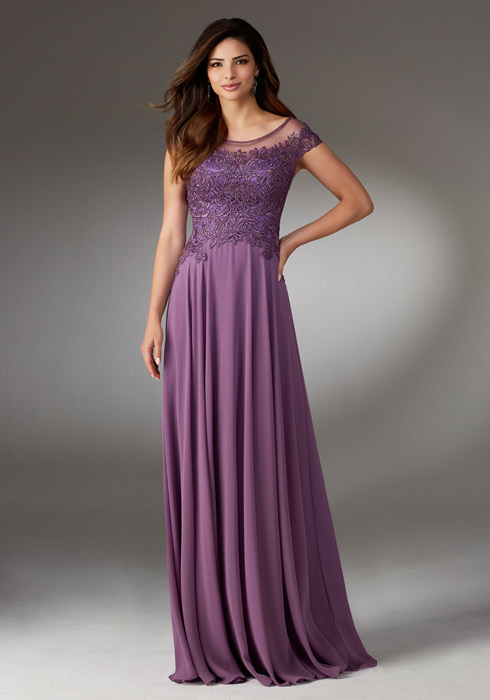 MGNY for Morilee - Embroidered Chiffon Cap Sleeve Gown n/o
