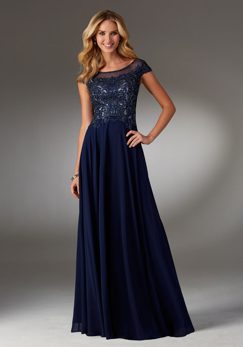 MGNY for Morilee - Embroidered Chiffon Cap Sleeve Gown
