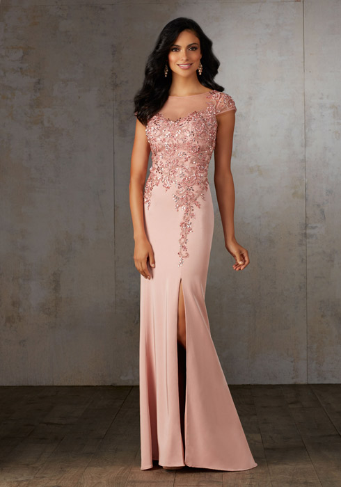 MGNY for Morilee - Cap Sleeve Beaded Bodice Side Slit Gown