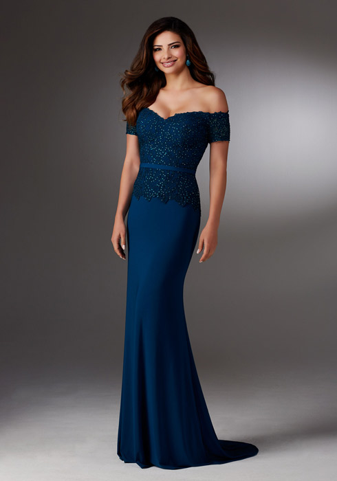 MGNY for Morilee - Beaded Off-The-Shoulder Sheath Gown