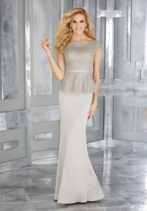 MGNY for Morilee - Lace Peplum Crepe Gown