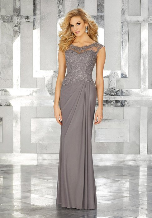 MGNY for Morilee - Embroidered Illusion Sheath Gown