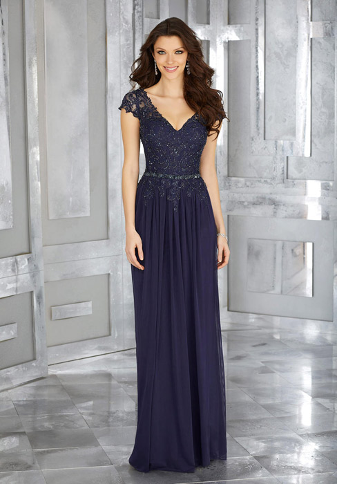 MGNY for Morilee - Short Sleeve Beaded Bodice Gown