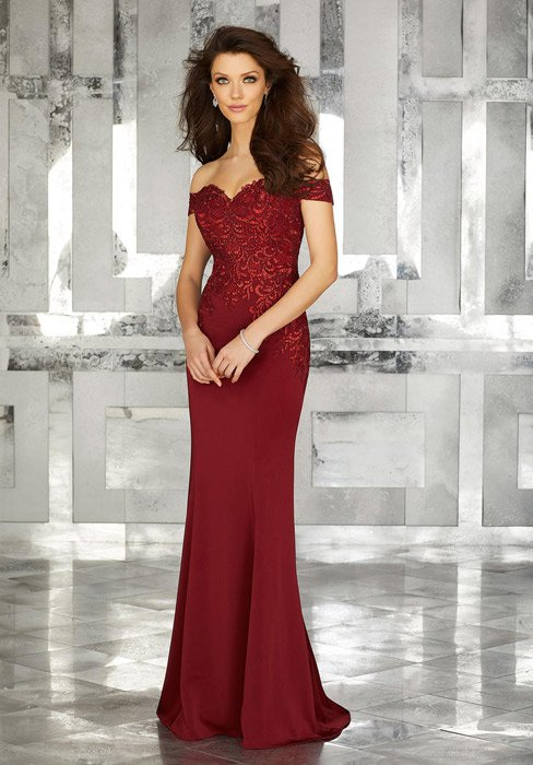 MGNY for Morilee - Beaded Embroidery Crepe Gown