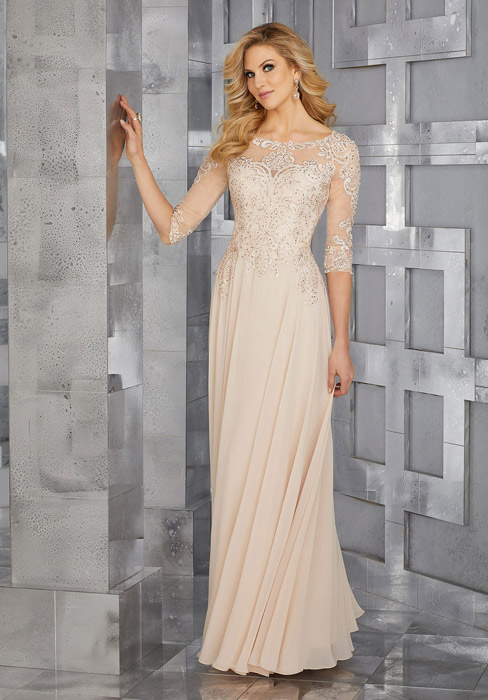 MGNY for Morilee - Embroidered Half Sleeve Chiffon Gown
