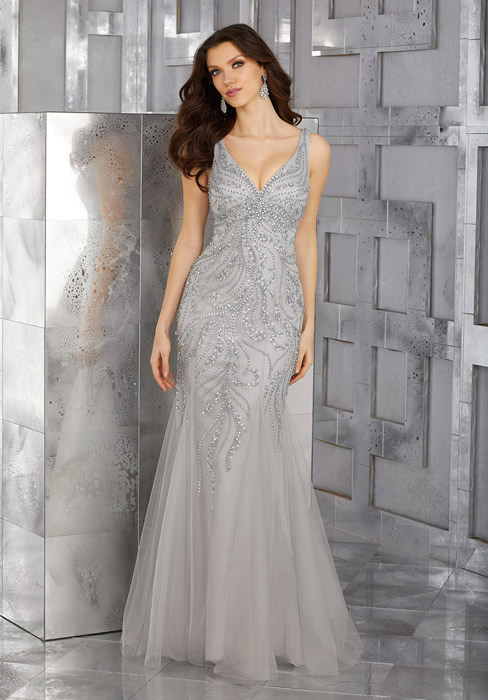 MGNY for Morilee - Sleeveless Beaded Tulle Gown n/o