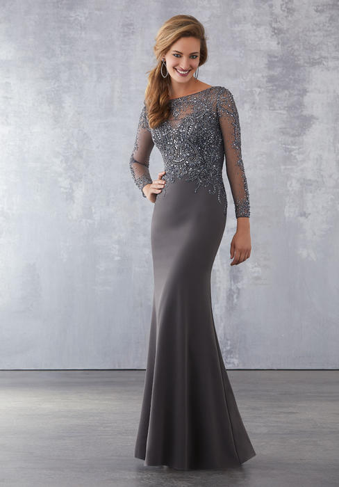 MGNY for Morilee - Long Sleeve Beaded Chiffon Gown