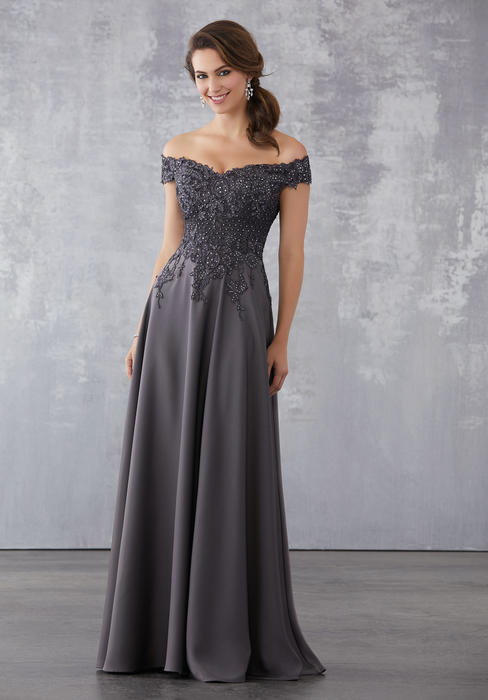 MGNY for Morilee - Off Shoulder Lace Bodice Chiffon Gown