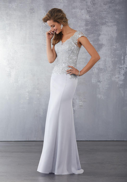MGNY for Morilee - Lace Bodice Cap Sleeve Jersey Gown