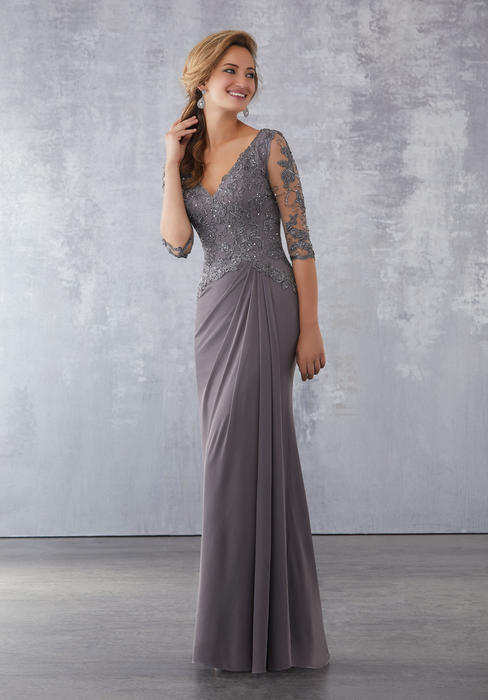 MGNY for Morilee - Beaded Cap Sleeve Chiffon Gown