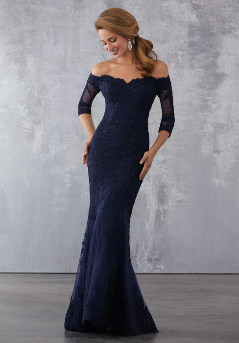 MGNY for Morilee - Long Sleeve Off Shoulder Lace Bead Gown