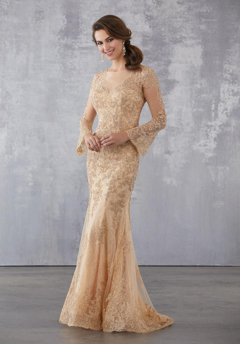 MGNY for Morilee - Lace Long Sleeve Gown
