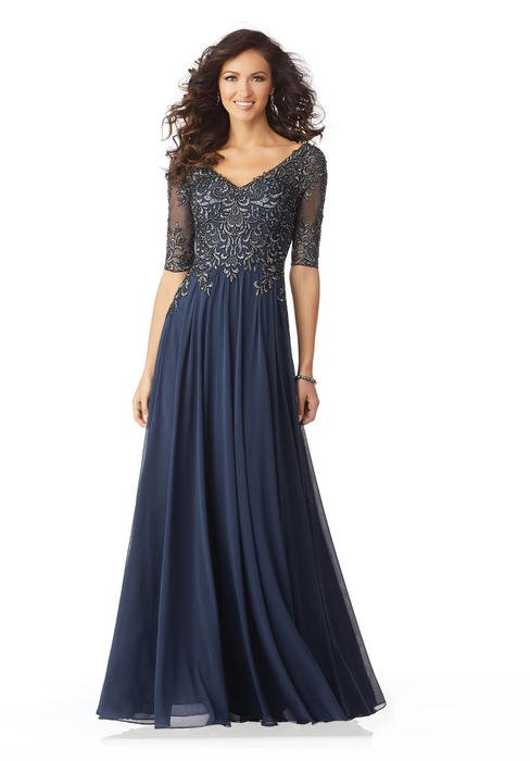 MGNY for Morilee - Chiffon Gown Quarter Sleeve Embroidered Bodice