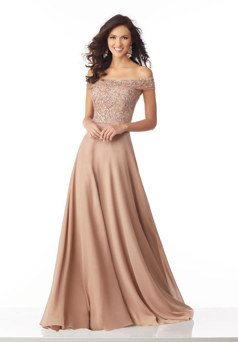 MGNY for Morilee - Off The Shoulder Chiffon Gown