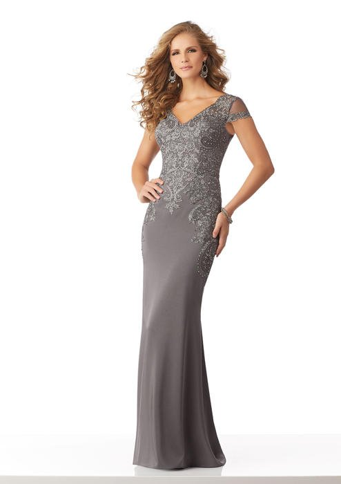 MGNY for Morilee - Beaded Lace Applique Satin Gown