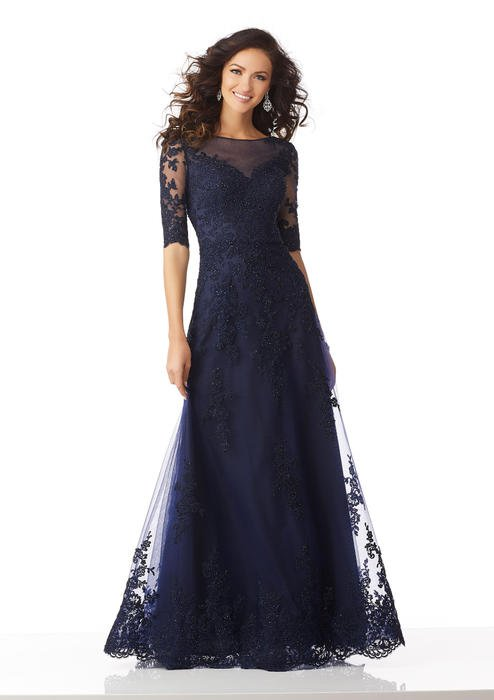 MGNY for Morilee - Quarter Sleeve Beaded Lace Applique Illusion Gown