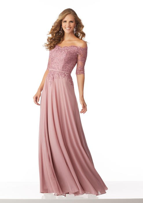 MGNY for Morilee - Off The Shoulder Lace Applique Chiffon Gown