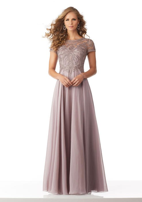 MGNY for Morilee - Beaded Bodice Cap Sleeve Chiffon Gown