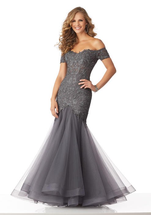 MGNY for Morilee - Off The Shoulder Applique Mermaid Gown