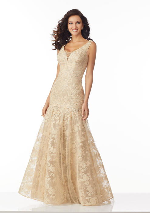 MGNY for Morilee - Beaded Lace Applique Gown