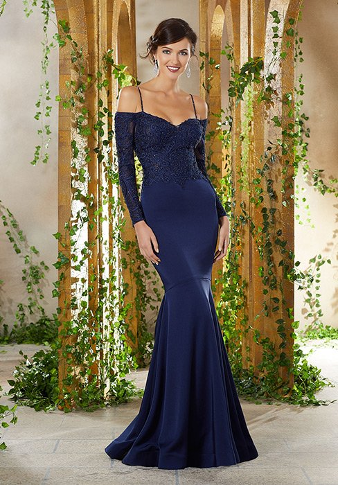 MGNY for Morilee - Off-Shoulder Embroidered Fit & Flare MOB Gown