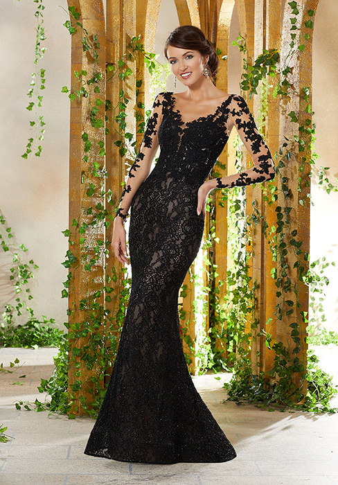 MGNY for Morilee - All Over Lace Long Sleeve Open Back Gown