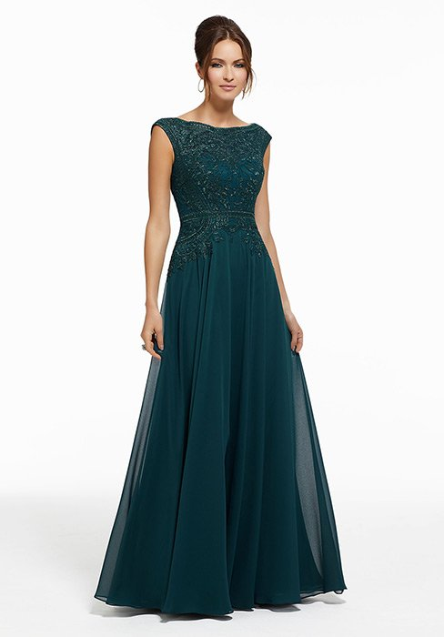 MGNY for Morilee - Beaded Metallic Embroidered Chiffon Gown