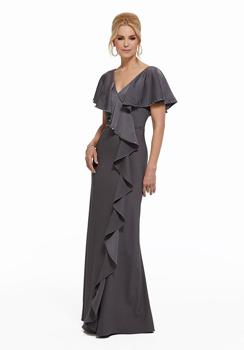 MGNY for Morilee - V-Neck Ruffled Chiffon Evening Gown