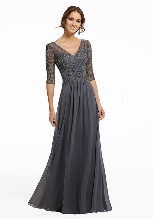 MGNY for Morilee - Chiffon Gown Quarter Sleeve Beaded Embroidered