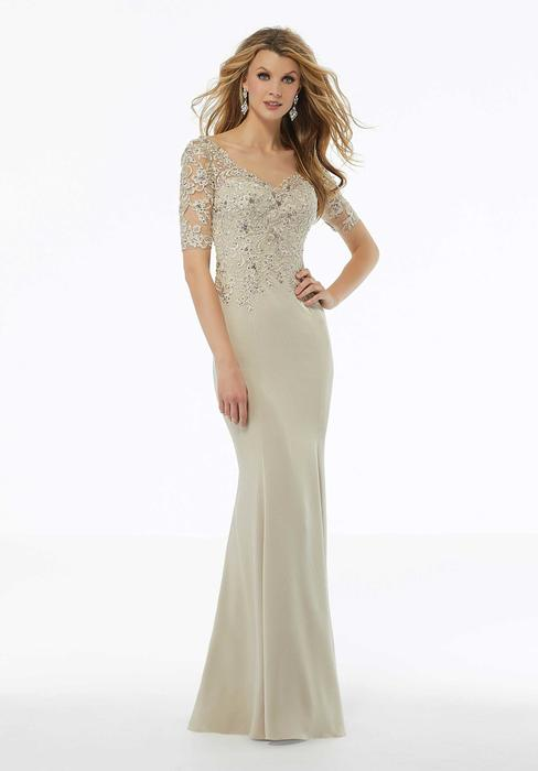 MGNY for Morilee - V-Neck Beaded Lace Gown