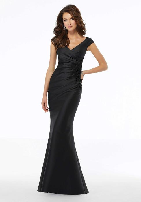 MGNY for Morilee - Satin V-Neck MOB Gown