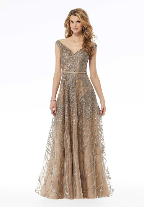 MGNY for Morilee - Off-Shoulder All-Over Glitter Gown